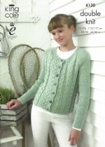 King Cole DK - 4130 Ladies Fitted Top & Cardigan Knitting Pattern